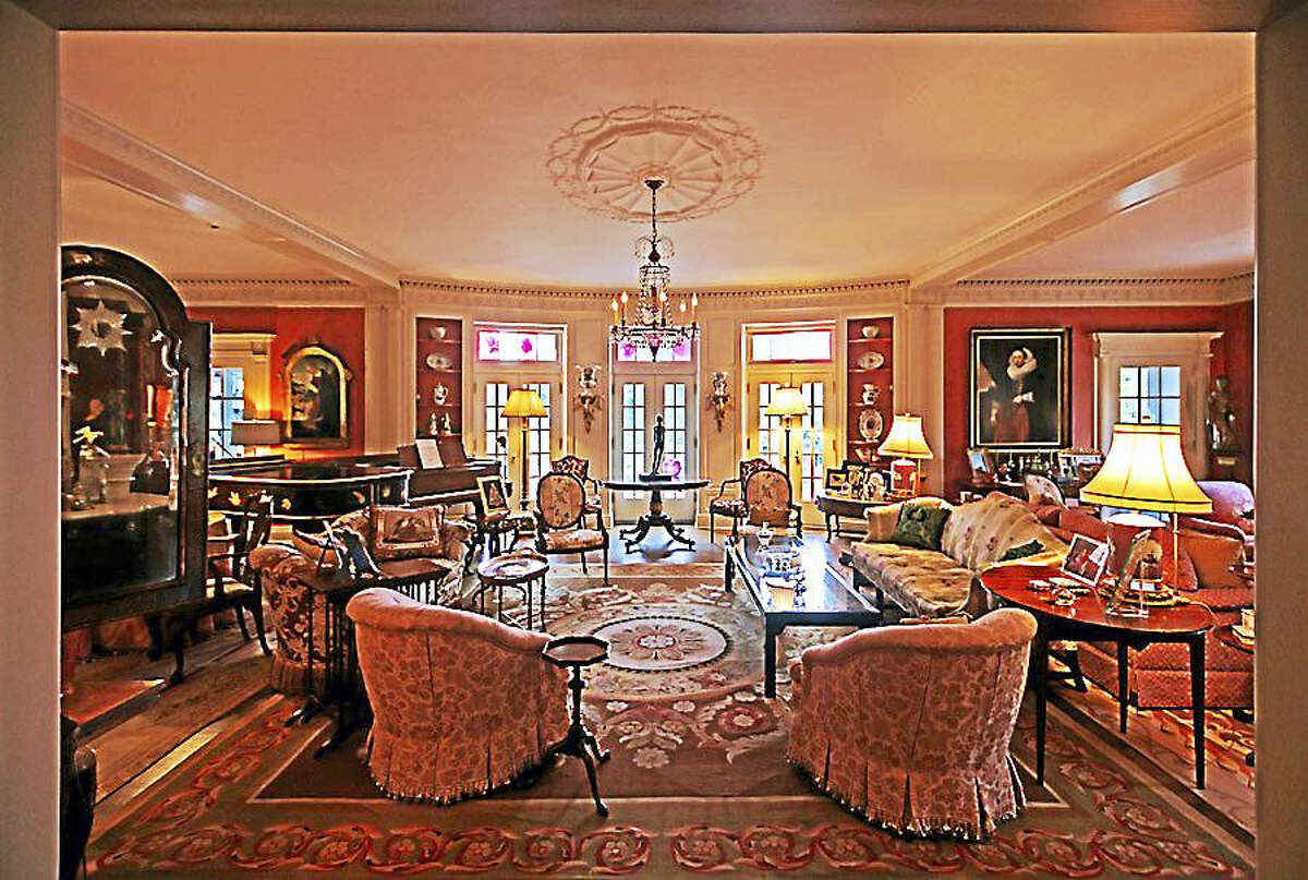 The living room of Eyrie Knoll in West Hartford, the home of art collectors Melinda and Paul Sullivan.