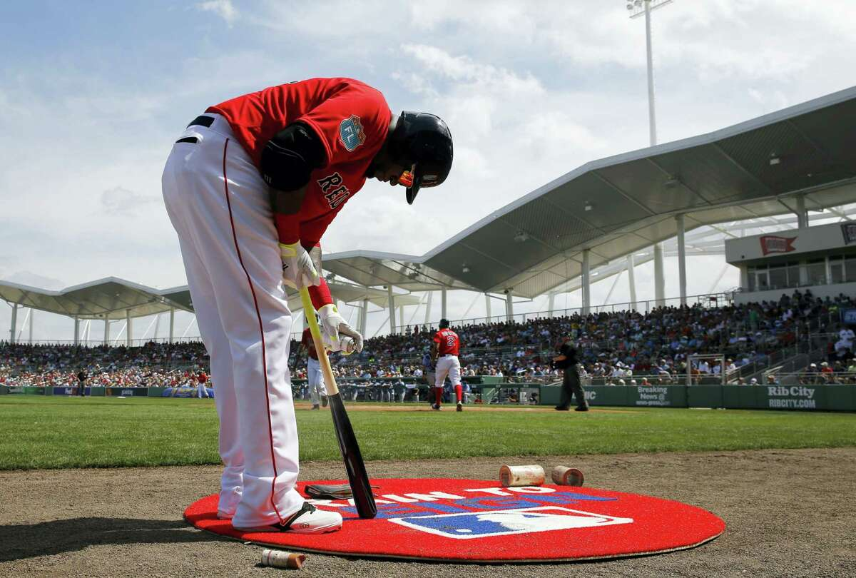 Boston Red Sox designated hitter David Ortiz prepares for an at-bat during a spring training baseball game against the Tampa Bay Rays in Fort Myers, Fla., Friday, March 4, 2016. (AP Photo/Patrick Semansky)