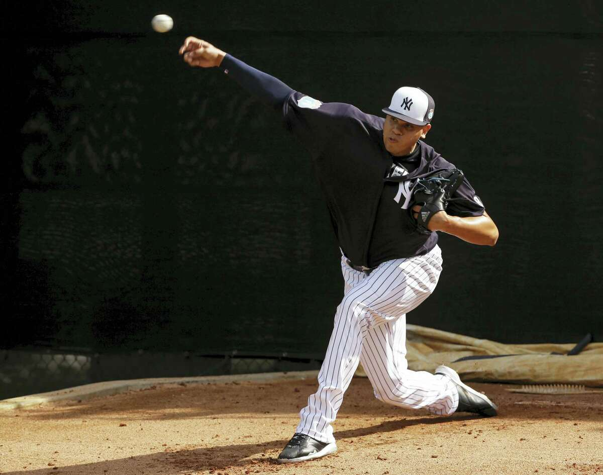 Dellin Betances throws in the bullpen earlier this spring training.