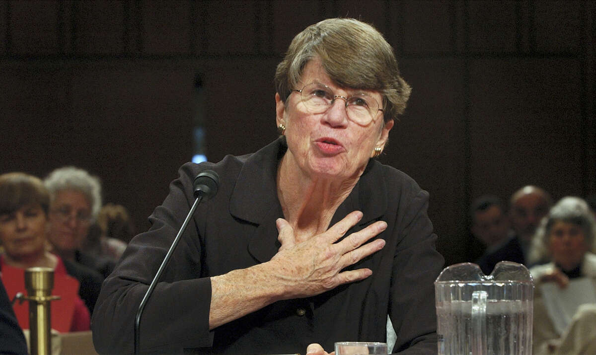 In this April 13, 2004 photo, former U.S. Attorney General Janet Reno testifies before the commission investigating the Sept. 11 attacks on Capitol Hill in Washington DC. Reno, the first woman to serve as U.S. attorney general and the epicenter of several political storms during the Clinton administration, died early Monday, Nov. 7, 2016. She was 78.