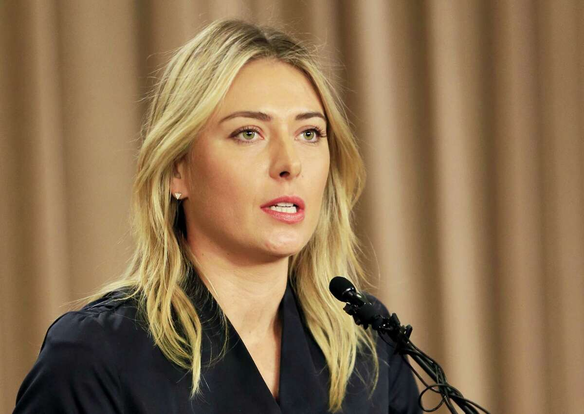 Tennis star Maria Sharapova speaks during a news conference Monday in Los Angeles.