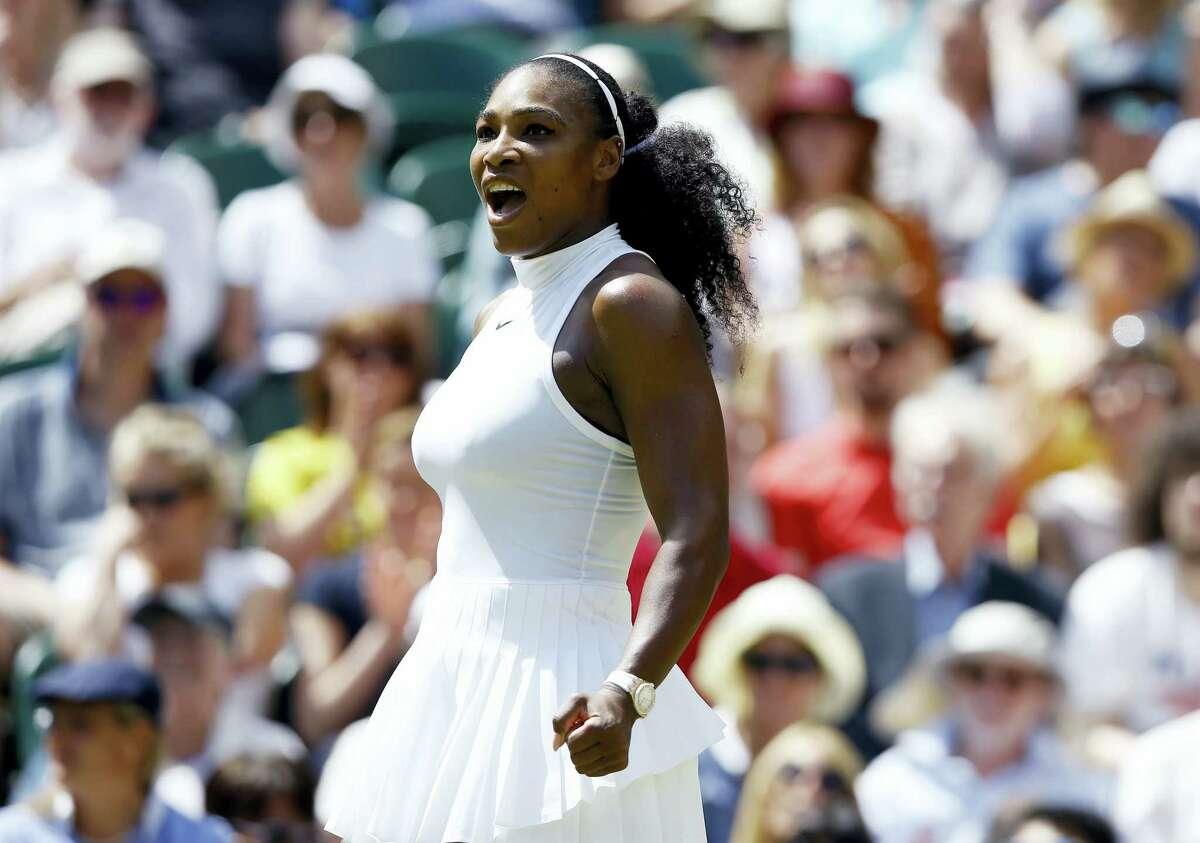 Serena WilliamsS celebrates after beating Elena Vesnina on Thursday.