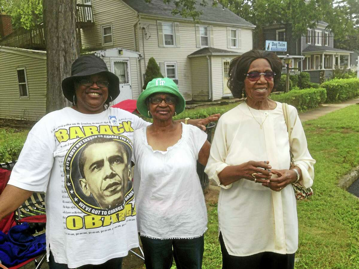 """From left, Jo-Ann Chatfield, Thelma Chatfield and Grace Larry As they sat watching Portland's 175th anniversary parade, a wave of memories washed over Thelma Chatfield, center; and her daughter Jo-Ann, left; and their friend Grace Smith Larry, right. Smith's family opened Smith's Luncheonette in 1946 at 49 Lower Main St. """"We sold food and we also cooked it,"""" Larry recalled."""