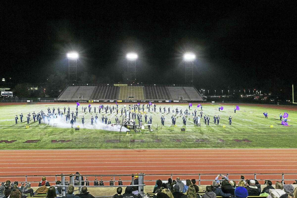 The Middletown High School band is shown performing on the field at Veterans Stadium in New Britain during the recent USBands New England States Competition.