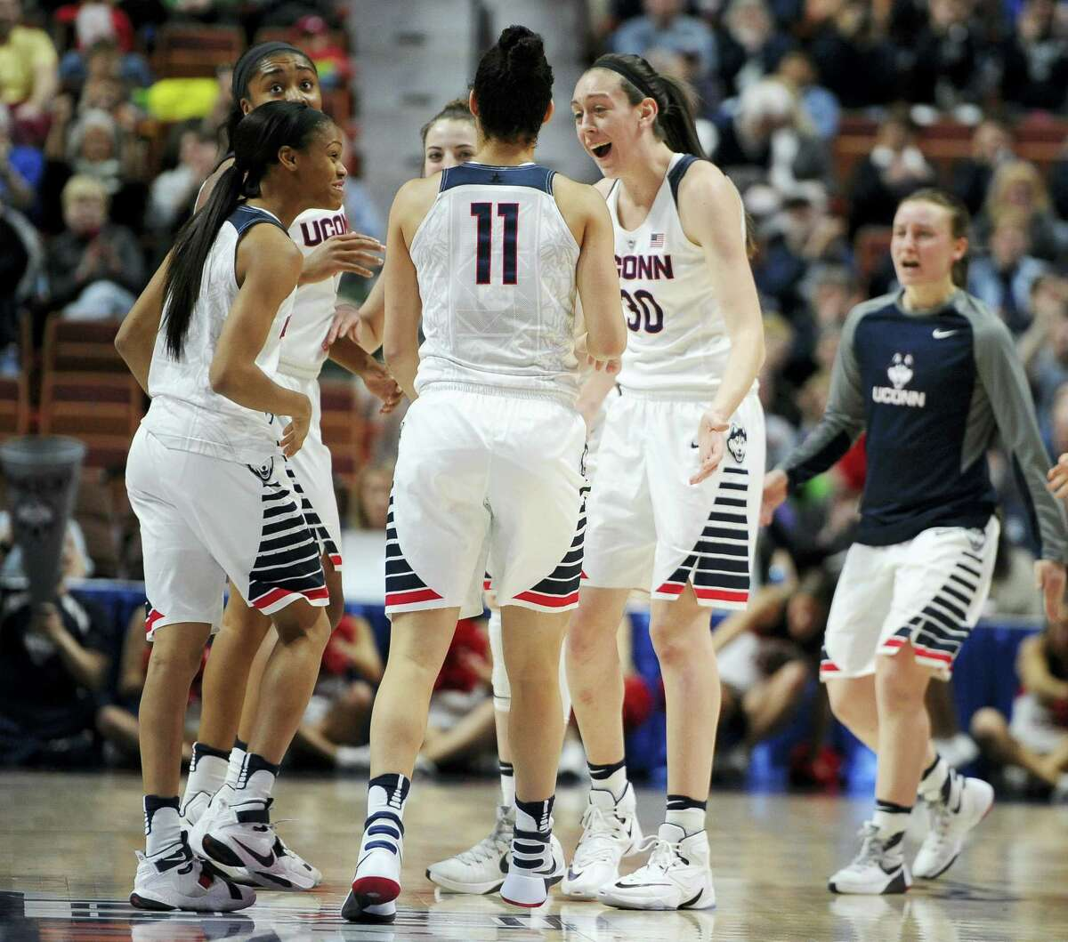 UConn's Breanna Stewart, right, reacts toward her team during the first half Sunday.