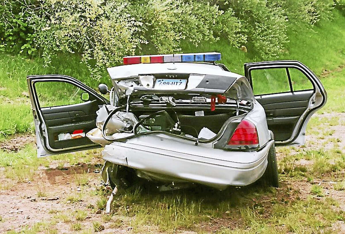 A Connecticut state police cruiser hit by a driver who didn't move over one lane. In a special enforcement campaign from Feb. 22 through March 4, troopers wrote tickets and issued warnings to people who didn't follow the state's Move Over law.