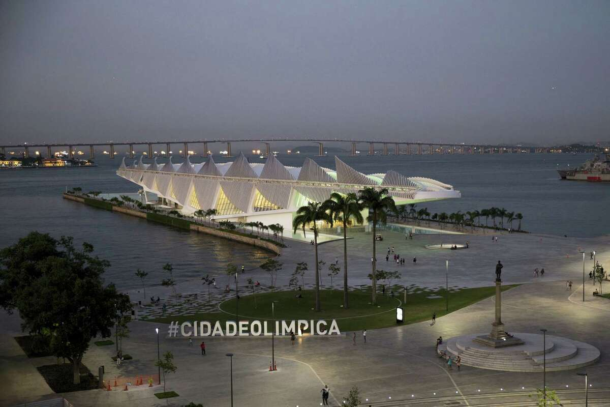 This April 7, 2016 photo shows the Museum of Tomorrow, which focuses on sustainable living strategies, in the renovated Praca Maua in the port area of Rio de Janeiro, Brazil. With the Olympics just a few weeks away, Brazil faces a litany of problems: an economy in freefall, the Zika virus and a political crisis with an impeached president.