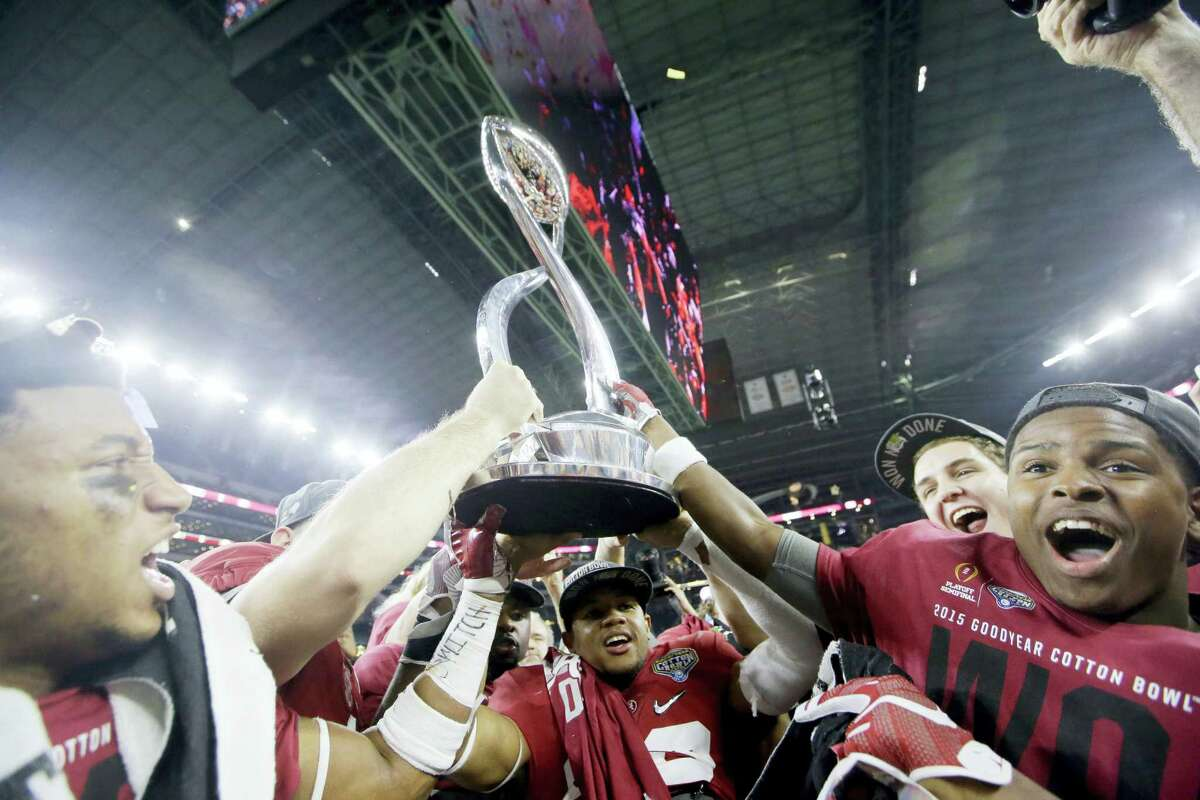Alabama celebrates after the Cotton Bowl college football playoff semifinal game against Michigan State on Thursday in Arlington, Texas.