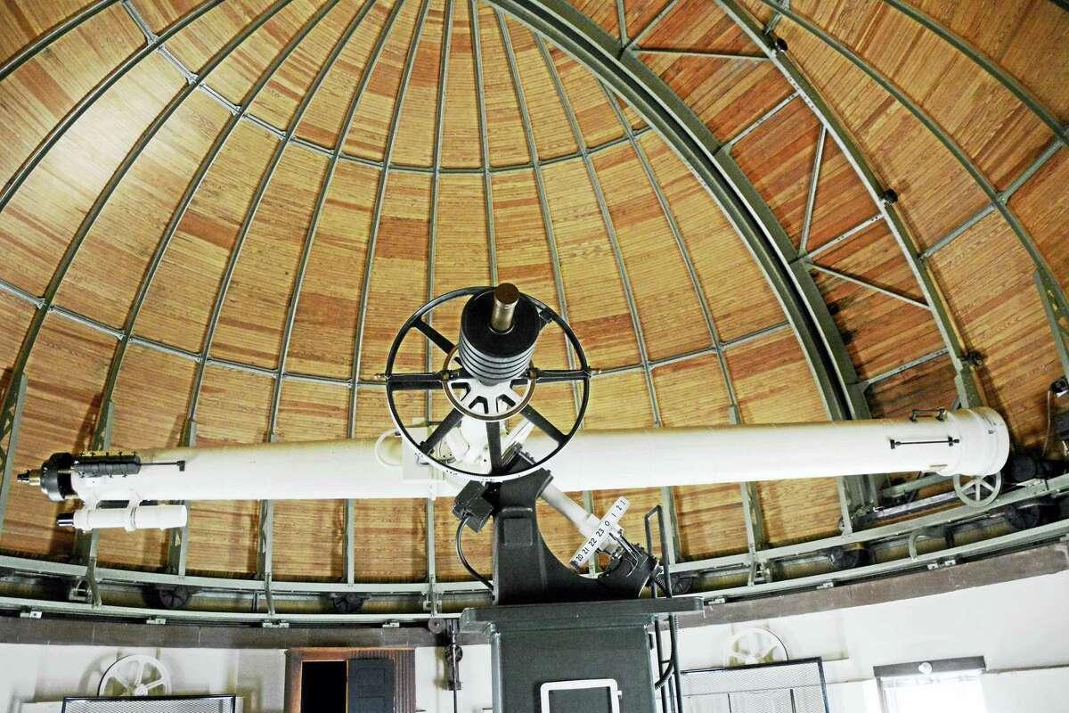 The restored refractor telescope at Van Vleck Observatory in Middletown