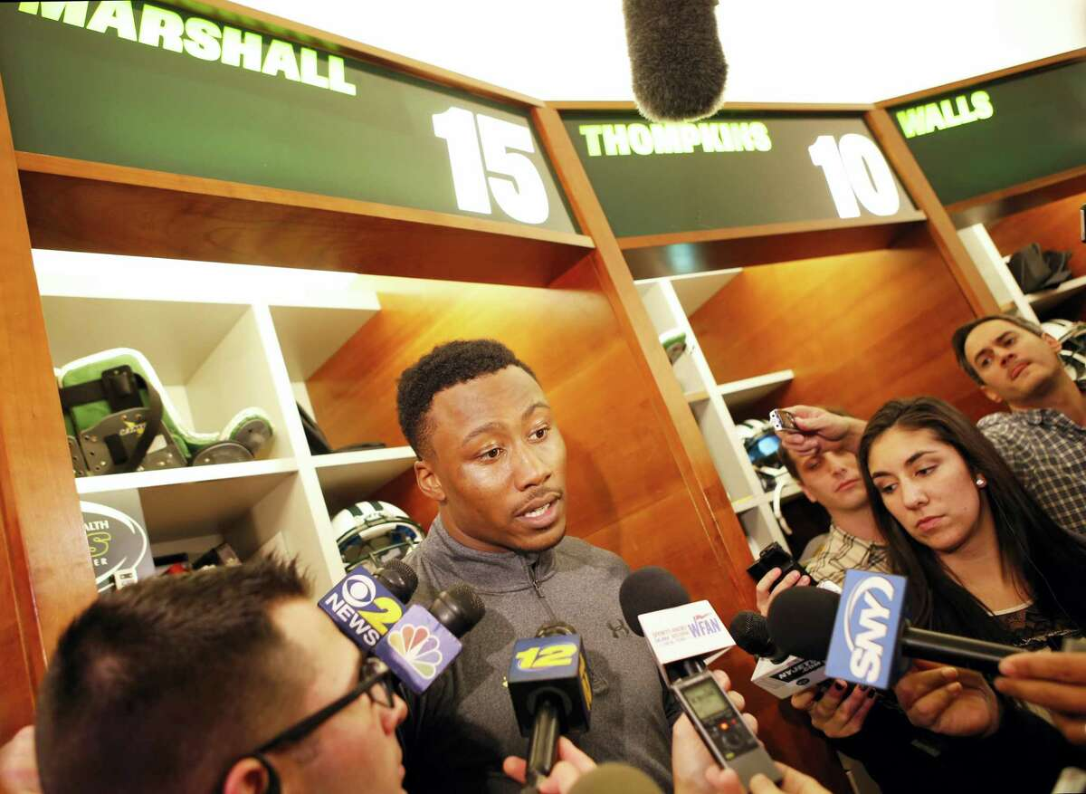 New York Jets wide receiver Brandon Marshall speaks to the media Wednesday in Florham Park, N.J.