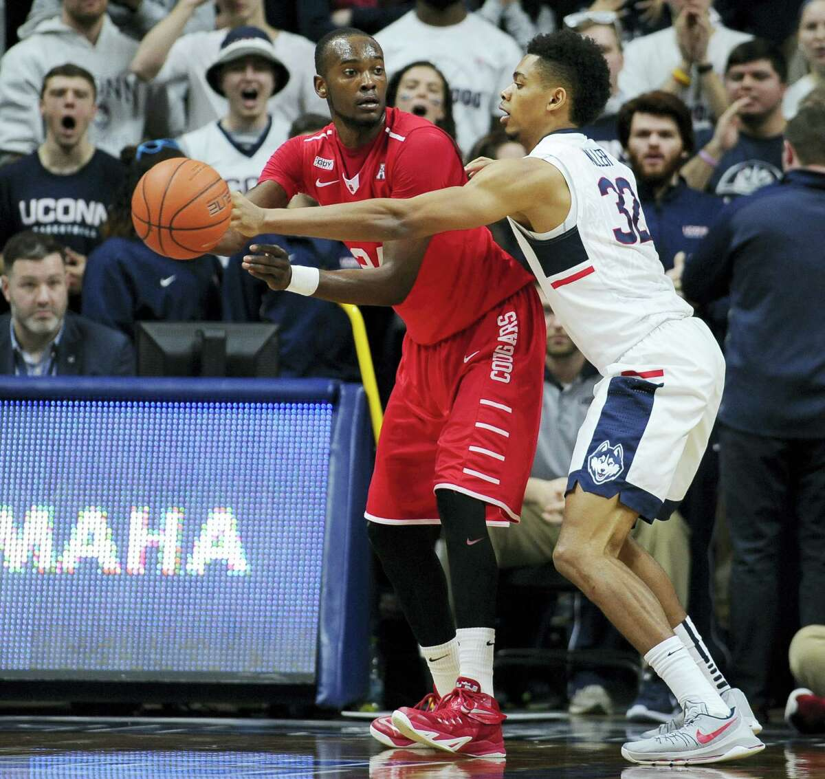 UConn senior Shonn Miller, right, will be honored in a ceremony before today's game against South Florida.