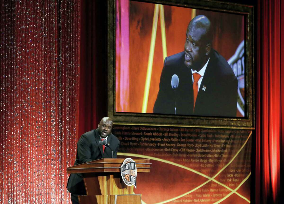 Hall of Fame inductee Shaquille O'Neal speaks during the ceremony on Friday in Springfield, Mass.