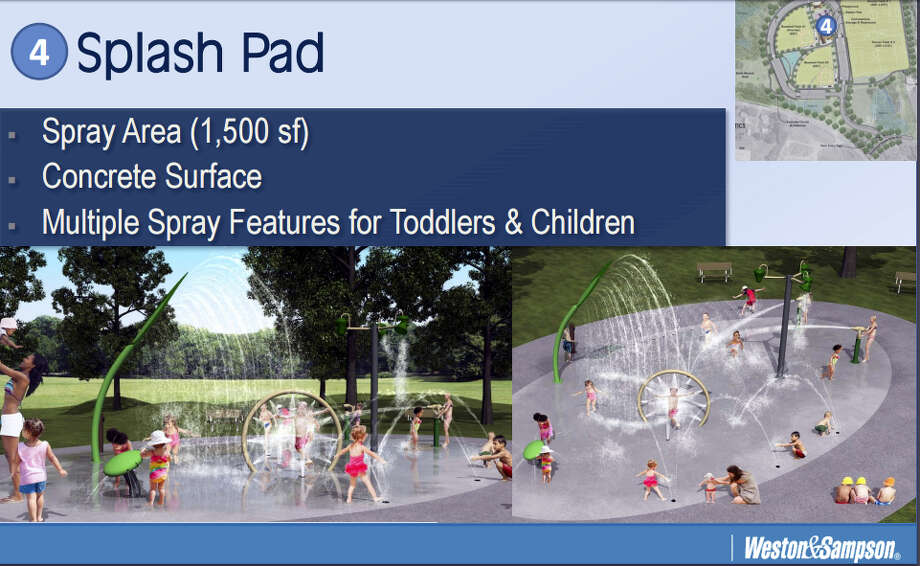 The town park complex, designed by Weston & Sampson engineers of Rocky Hill, includes a splash pad, according to the site layout plan. Photo: Screenshot