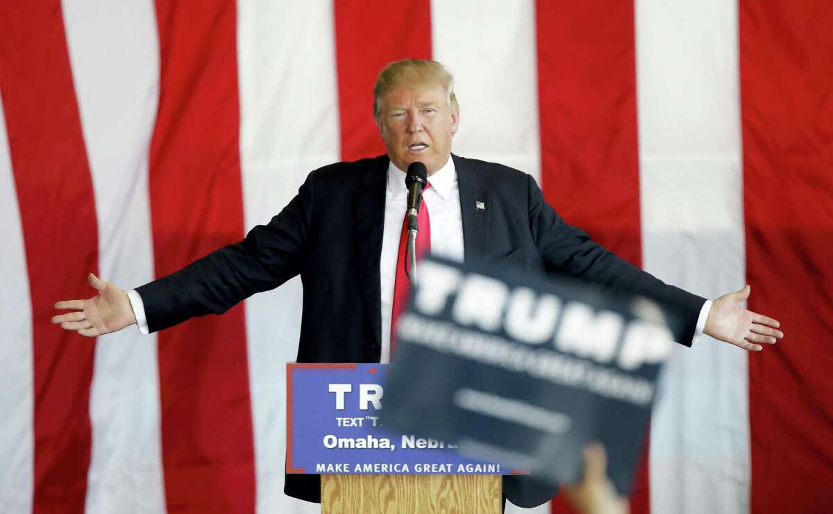 Republican presidential candidate Donald Trump speaks during a rally Friday in Omaha, Neb.