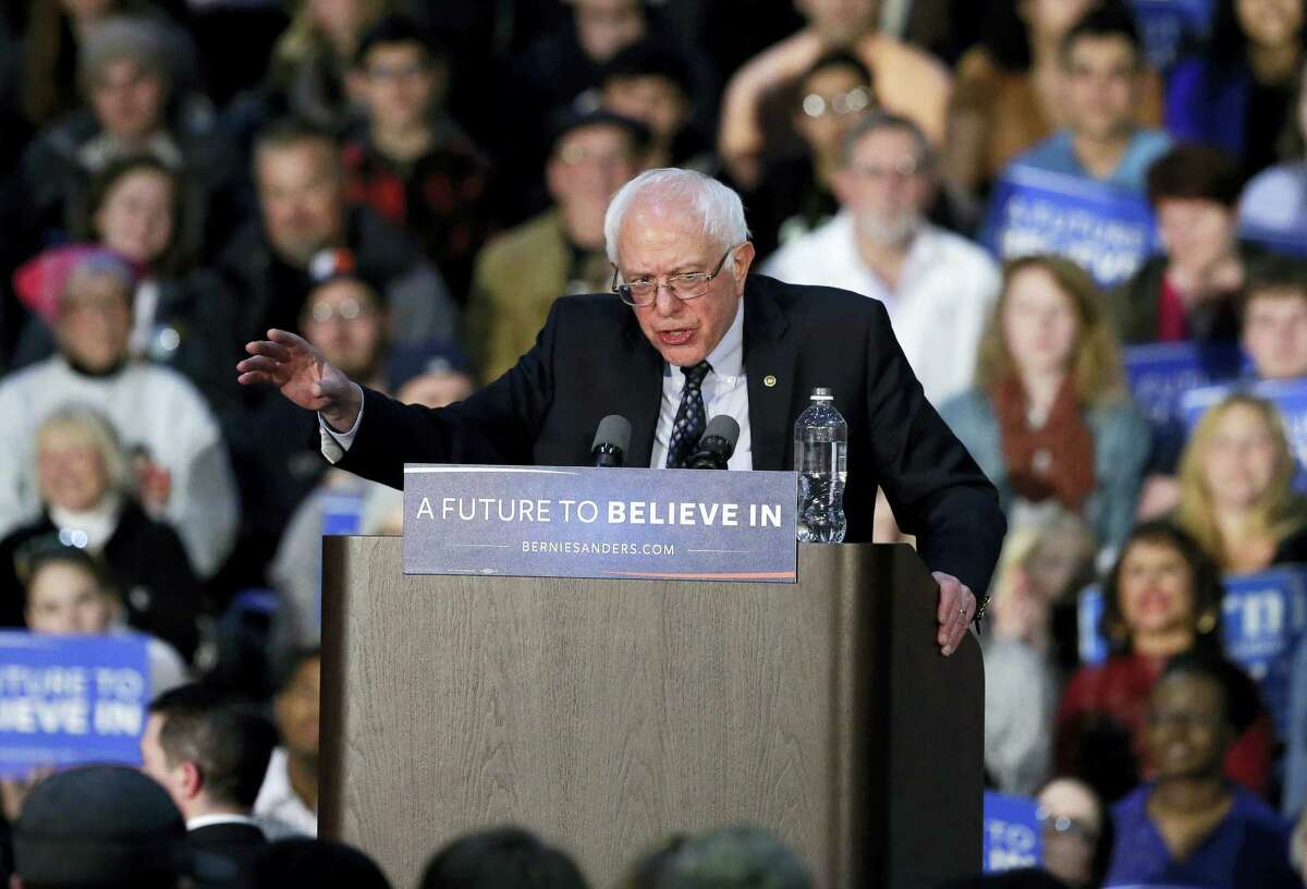Democratic presidential candidate Sen. Bernie Sanders, I-Vt., speaks during a rally at Grand Valley State University Field House Arena Friday.