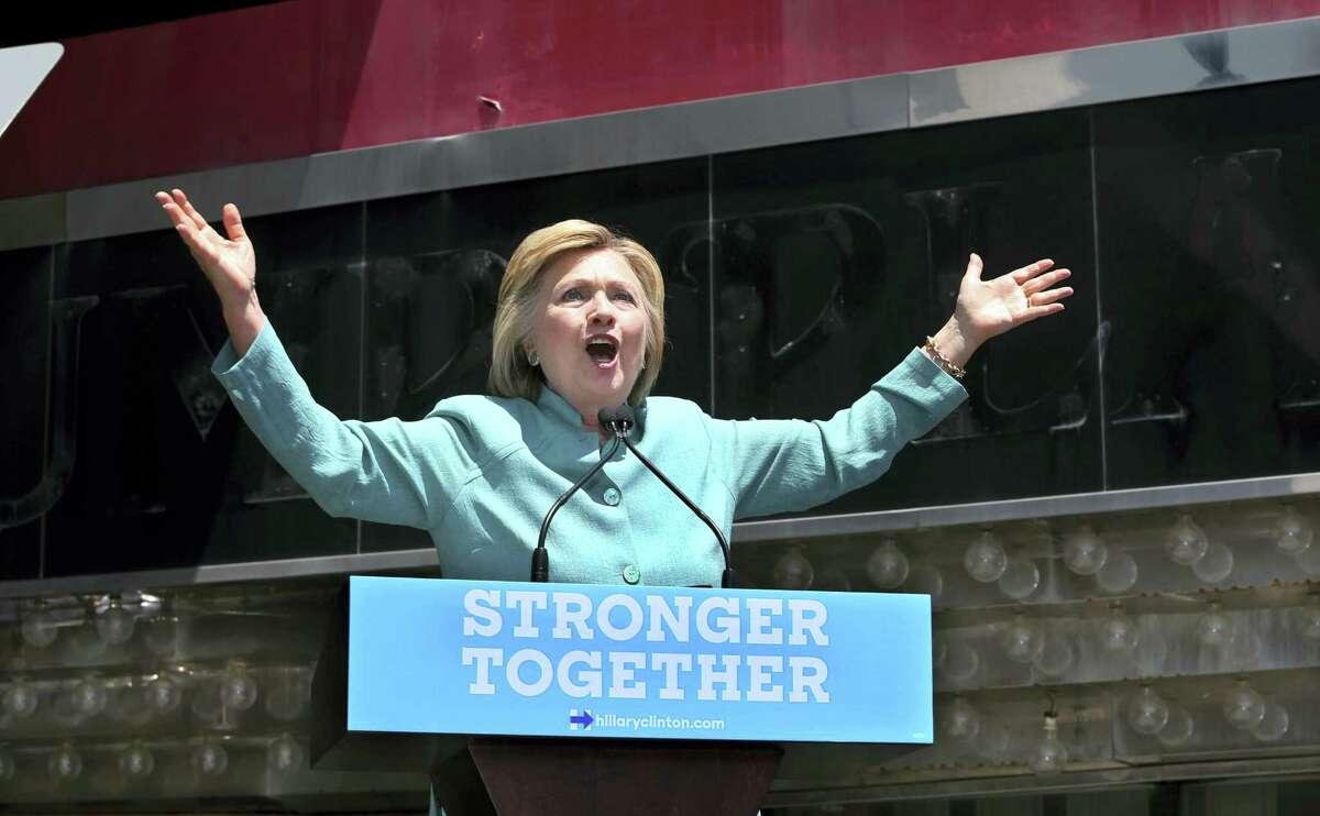Democratic presidential candidate Hillary Clinton speaks on the Boardwalk in Atlantic City, N.J.