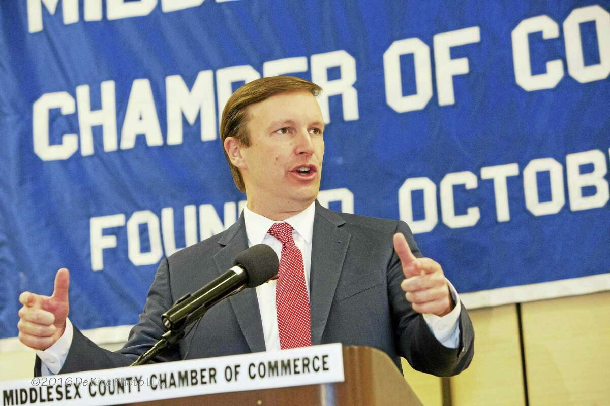 U.S. Sen. Chris Murphy discusses the issues facing Middlesex County and the state of Connecticut during the Middlesex County Chamber of Commerce member breakfast in Cromwell on Monday.
