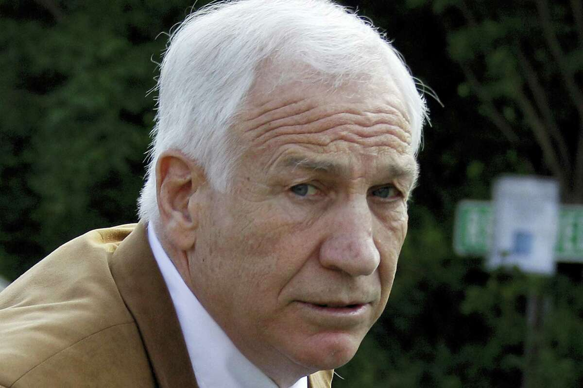 This June 22, 2012, file photo shows former Penn State assistant football coach Jerry Sandusky arriving at the Centre County Courthouse in Bellefonte, Pa.