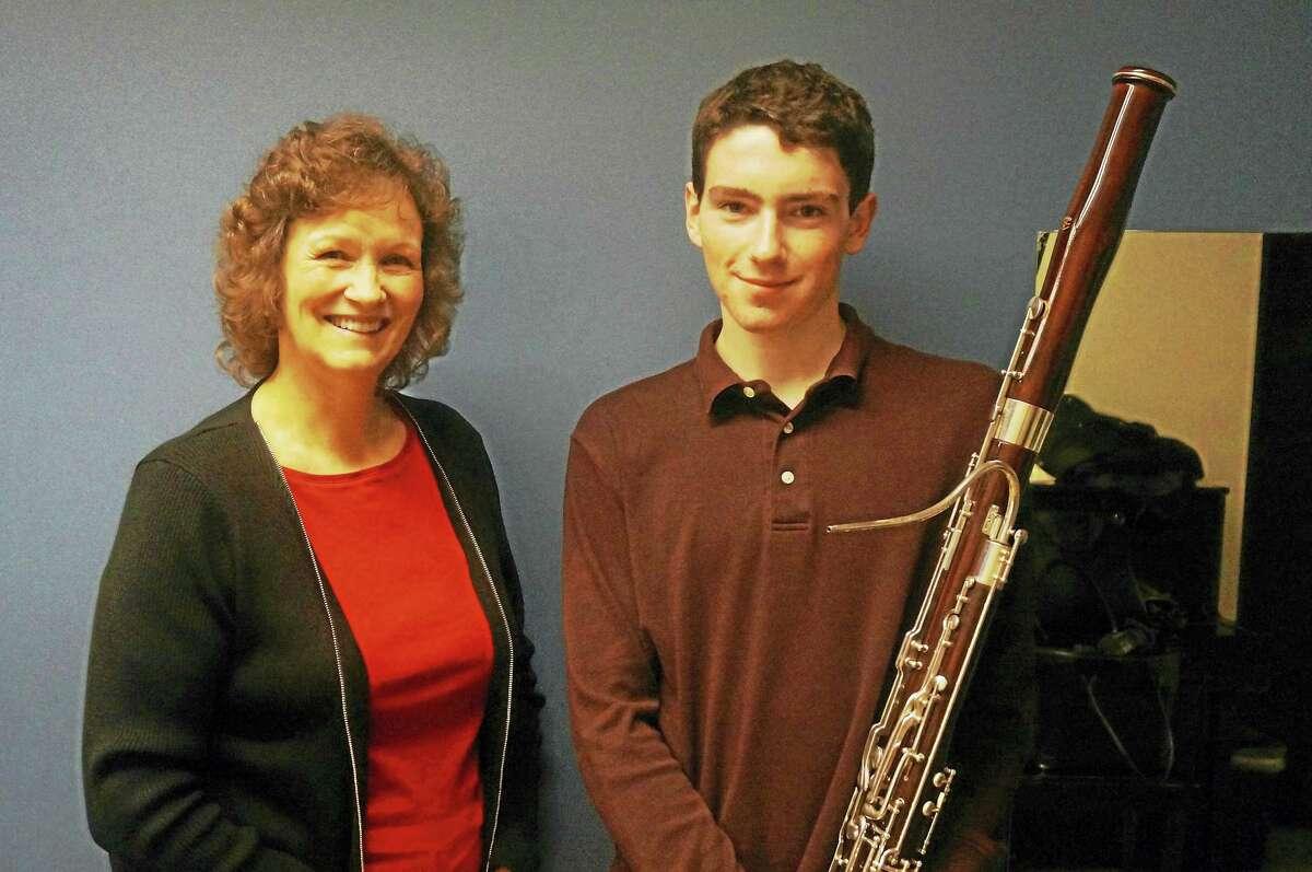 Teen soloist Paul Stelben and his bassoon instructor, O.N.E. musician Sue Zoellner-Cross.