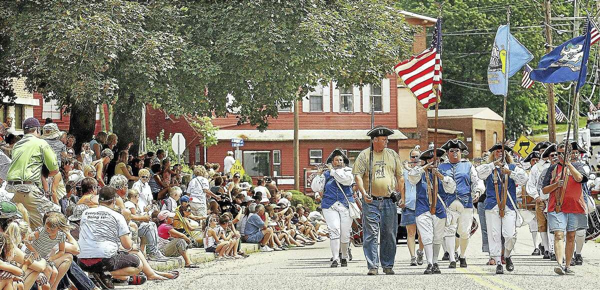 The 3rd Connecticut Regiment of Fifes & Drums perform in the annual East Hampton Old Home Days Parade.