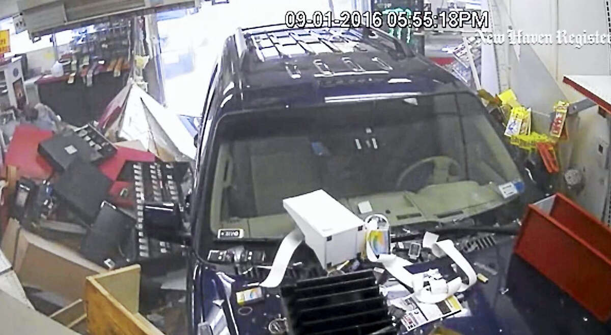 Police have a released surveillance video showing an SUV crashing through a Clinton gas station. A clerk had to be taken to Yale-New Haven Hospital after the Sept. 1 accident at Shell, 196 E. Main St.