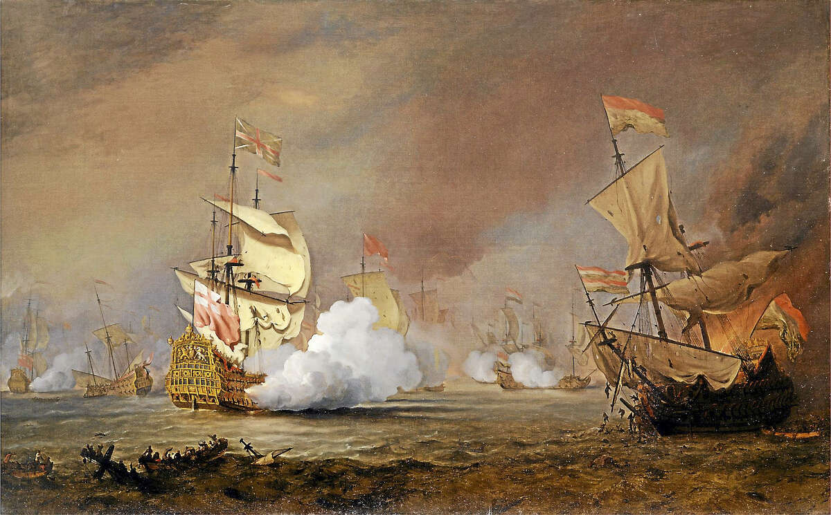 """""""Sea Battle of the Anglo-Dutch Wars"""" by William van de Velde the Younger, circa 1700."""