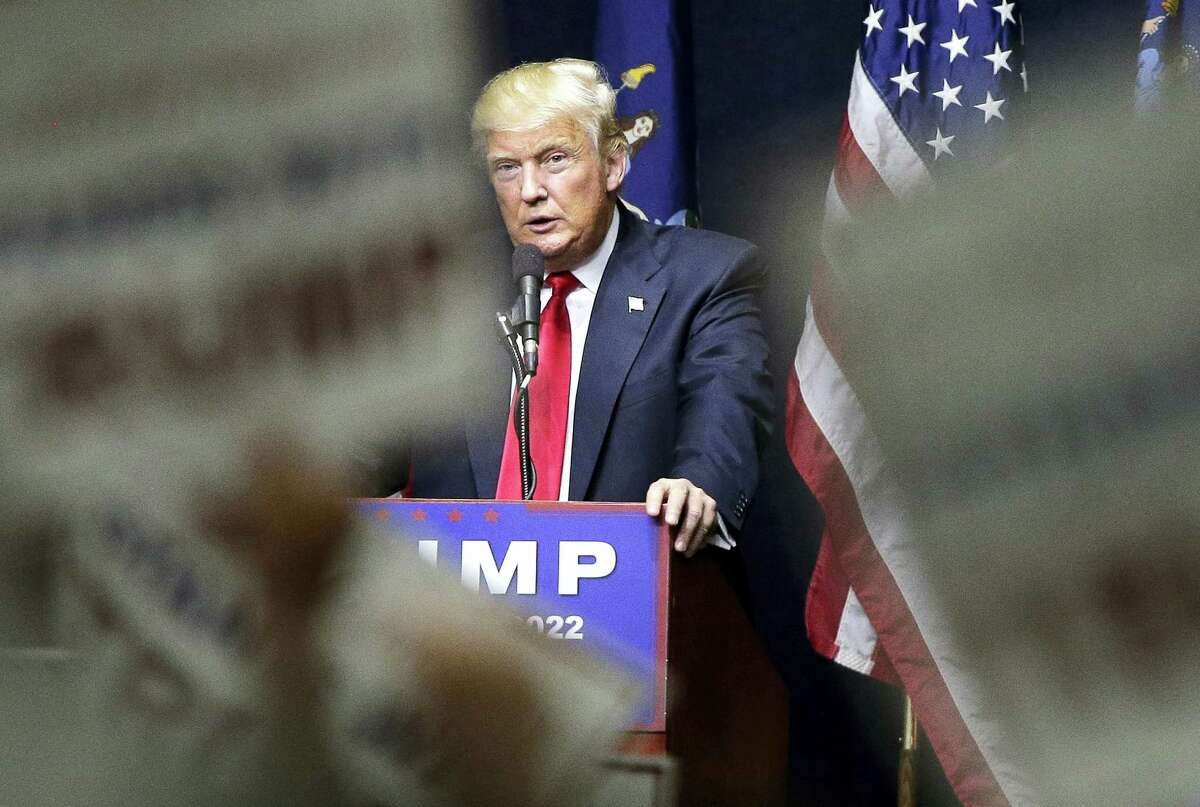 In this April 6 photo, Republican presidential candidate Donald Trump speaks during a campaign rally in Bethpage, N.Y.