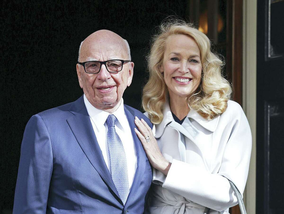 News Corp Executive Chairman Rupert Murdoch and Jerry Hall leave Spencer House, London, after getting married, Friday, March 4, 2016.