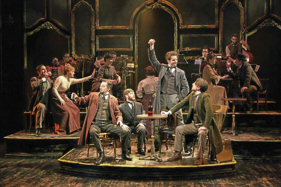 T. Charles Erickson photo In the foreground, from left: Josh Grisetti (Rachou), Bobby Steggert (Toulouse-Lautrec), John Riddle (Grenier), and Andrew Mueller (Anquentin). Photo: Journal Register Co. / T Charles Erickson