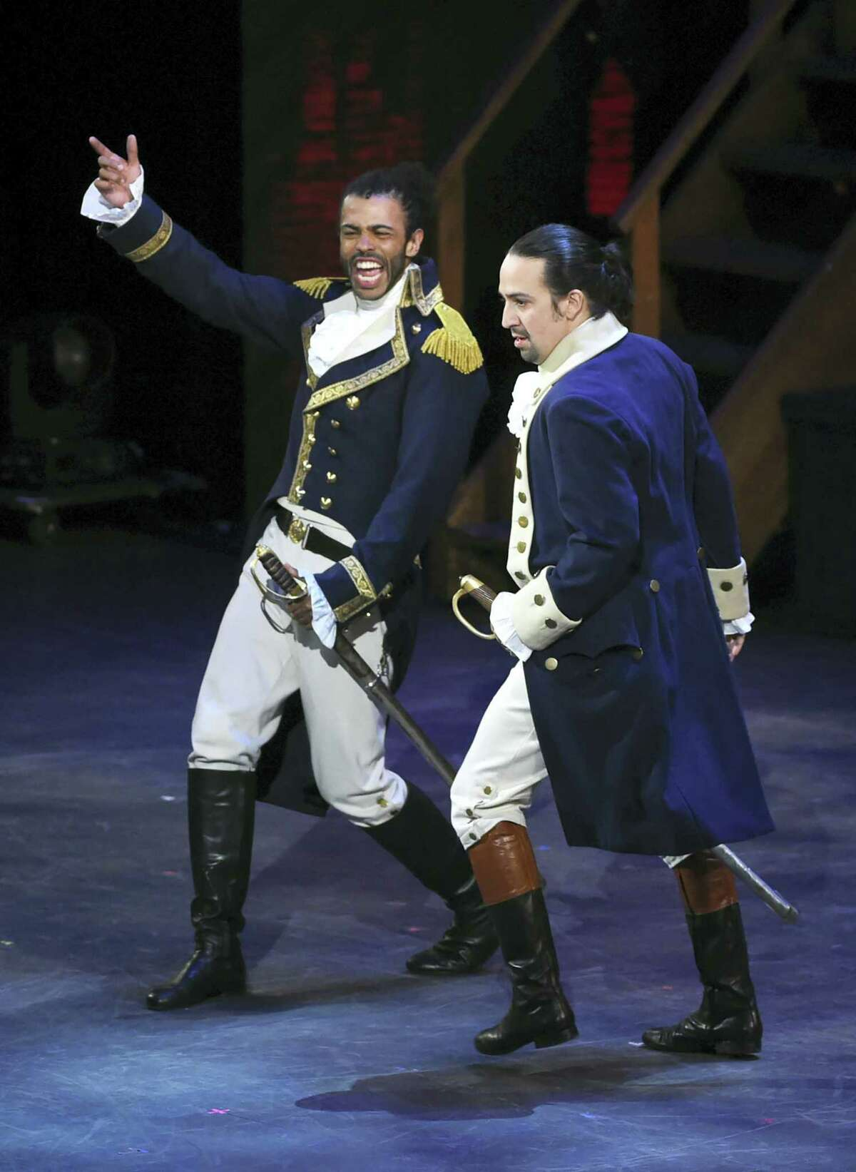 """This June 12, 2016 photo shows Daveed Diggs, left, and Lin- Manuel Miranda, of """"Hamilton"""" performing at the Tony Awards at the Beacon Theatre in New York. Long before his life story became the toast of the Great White Way, Alexander Hamilton was a hit in Albany."""