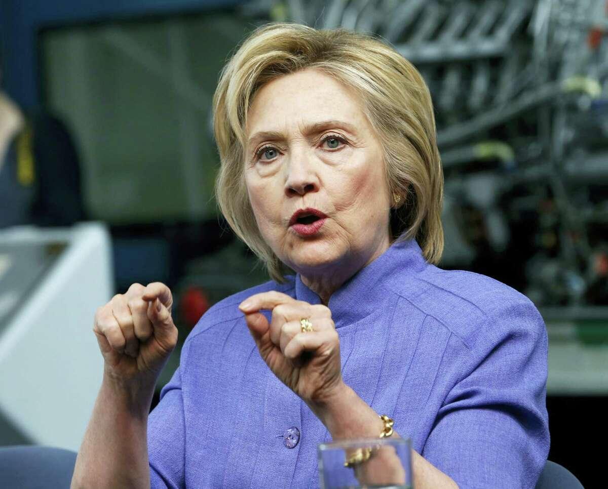 In this June 15 photo, Democratic presidential candidate Hillary Clinton speaks in Hampton, Va.