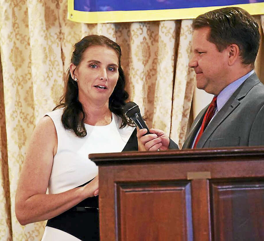 Middlefield's Jennifer Schulten is interviewed by Eyewtiness 3 sports broadcaster John Holt at the 75th Gold Key dinner Sunday. Schulten was one of seven Good Sports Award recipients. Photo: Gerry DeSimas, Jr. — Collinsville Press