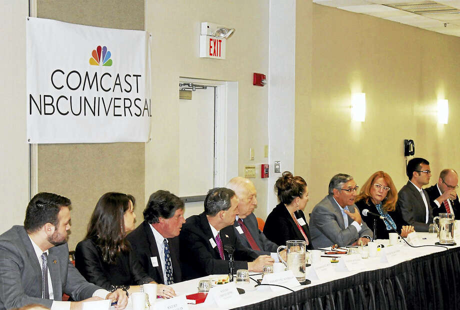 The Middlesex County Chamber of Commerce 2016 Legislative Breakfast was held Feb. 19.at the Courtyard by Marriott. Shown are state Reps. Jesse MacLachlan, Christie Carpino, Buddy Altobello, state Sen. Paul Doyle, state Reps. Joseph Serra, Melissa Ziobron, state Senate Minority leader Len Fasano, state Rep. Noreen Kokoruda, state Sen. Art Linares and state Rep. Devin Carney. Photo: Courtesy Photo