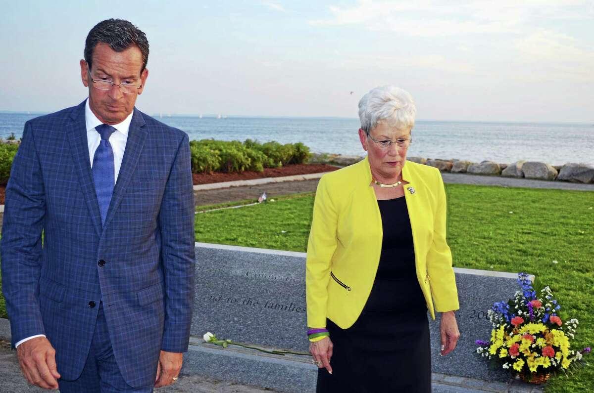 TOM HENRY — WESTPORT MINUTEMAN Gov. Dannel P. Malloy and Lt. Gov. Nancy Wyman at Thursday's 9/11 Memorial Ceremony.