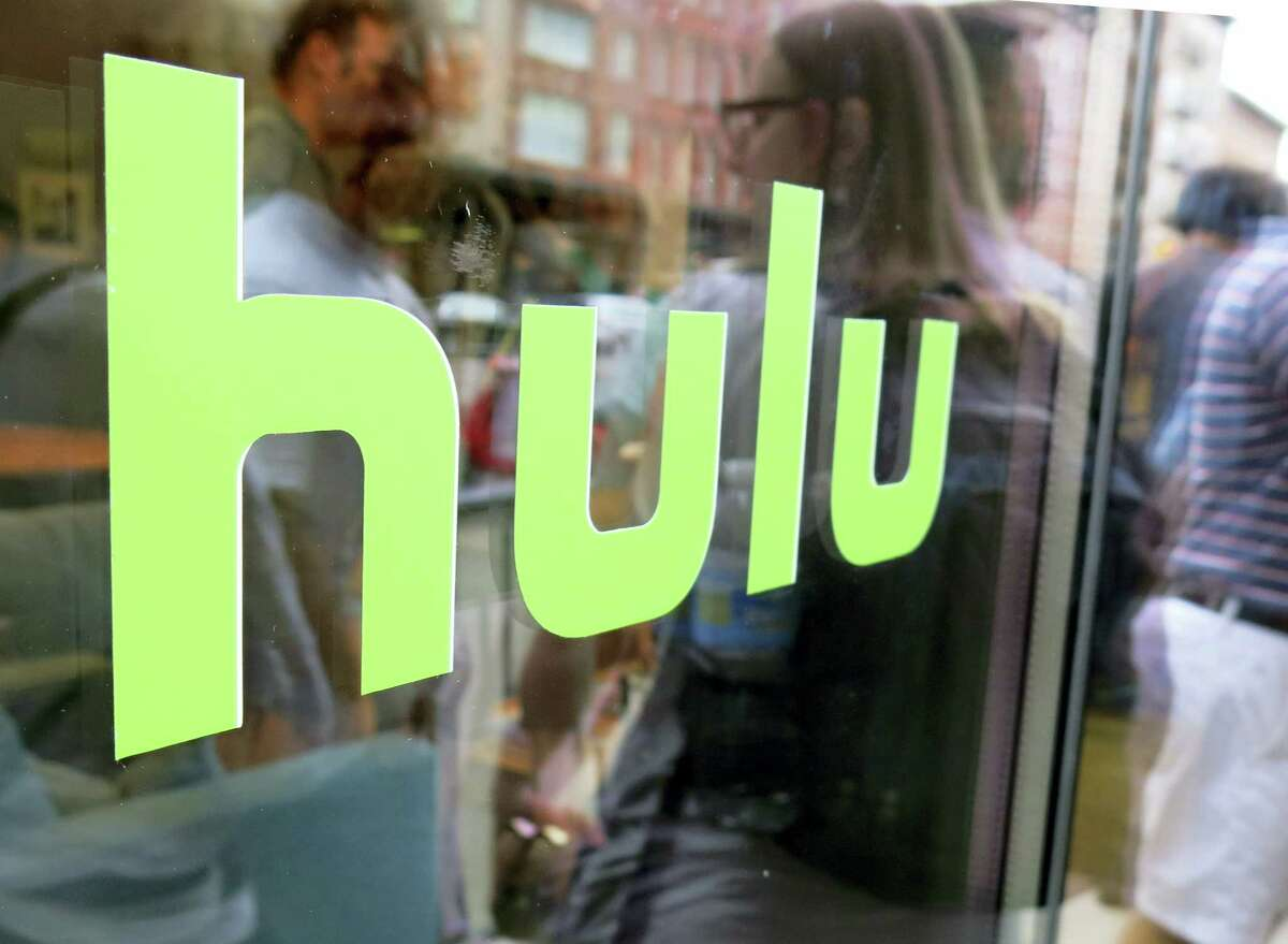 The Hulu logo on a window at the Milk Studios space in New York.