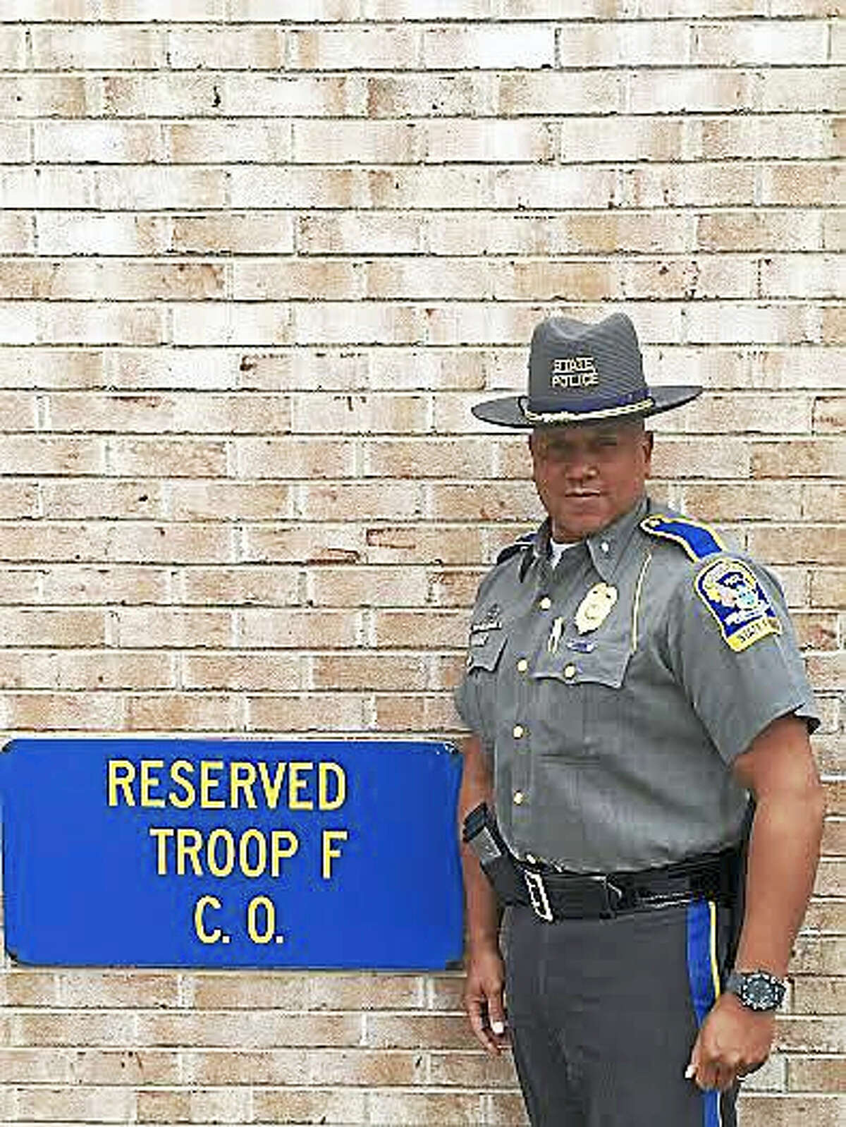 """Lt. Harold """"Chris"""" Johnson is the new commanding officer at the Troop F state police barracks in Westbrook."""