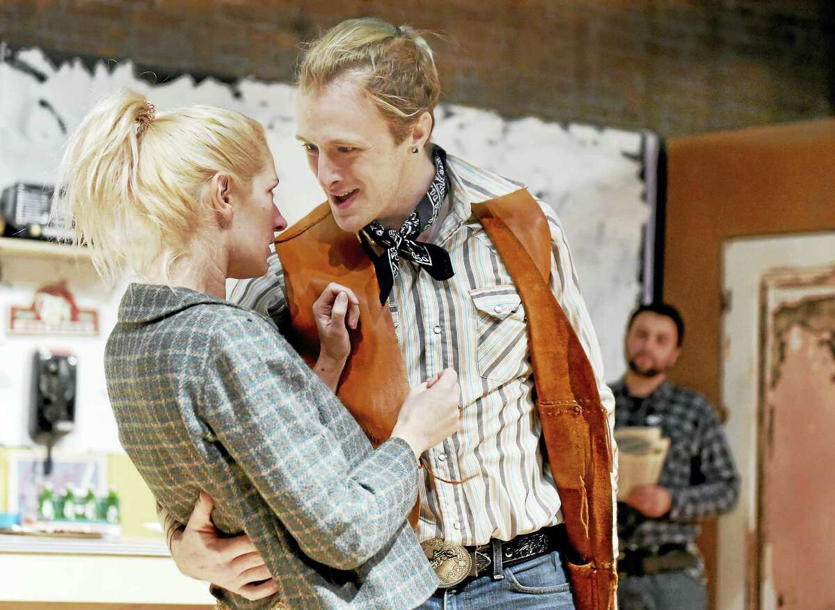 """Trevor Williams, right, as cowboy Bo Decker and Megan Chenot as Cherie in """"Bus Stop."""""""