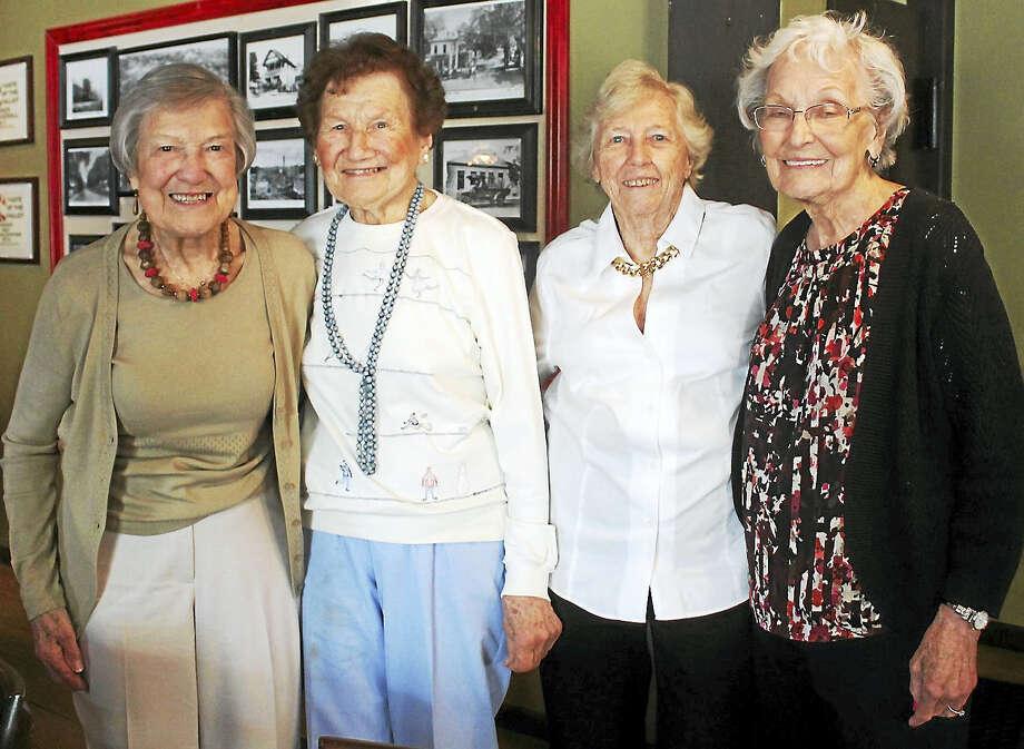 From left are Aurelia Negrelli Knox, Josephine Zaremba Koritkosky,Edie Heidtmann Machado and Clara Corrigan, all 1942 Deep River High School graduates. Photo: Valerie Bannister Photo