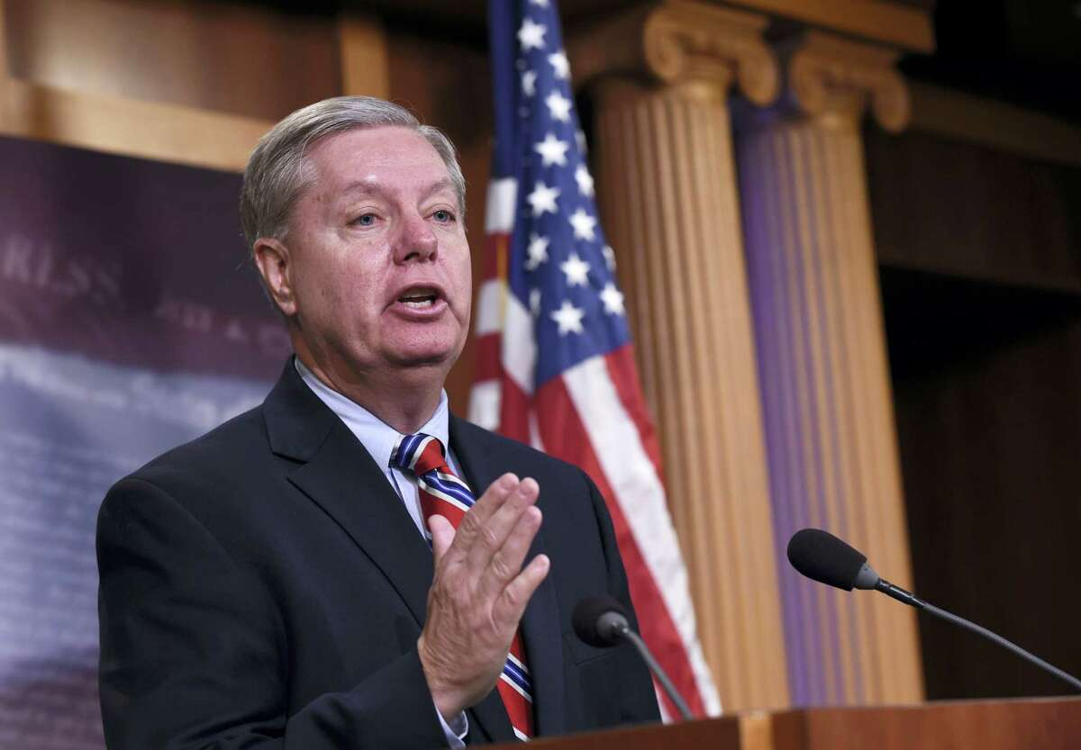 In this Jan. 21, 2016, file photo, Sen. Lindsey Graham, R-S.C., speaks during a news conference on Capitol Hill in Washington. In no-holds-barred remarks Thursday, Feb. 25, 2016, the South Carolina senator and unsuccessful presidential candidate said the GOP has lost all semblance of sanity. He predicted irrevocable losses in November if the GOP backs Trump.