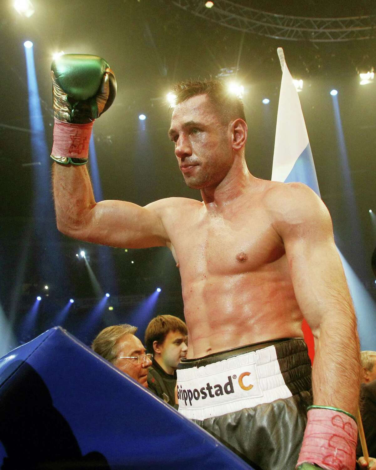 In this Feb. 20, 2016 picture, Germany's Felix Sturm,celebrates after a WBA super middleweight title bout against Russia's Fedor Chudinov in Oberhausen, Germany.