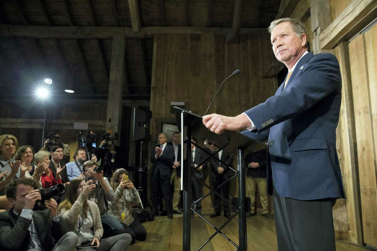 Republican presidential candidate Ohio Gov. John Kasich prepares to speak at The Franklin Park Conservatory & Botanical Gardens, Wednesday, May 4, 2016, in Columbus. Ohio. Kasich announced the end of his White House bid.
