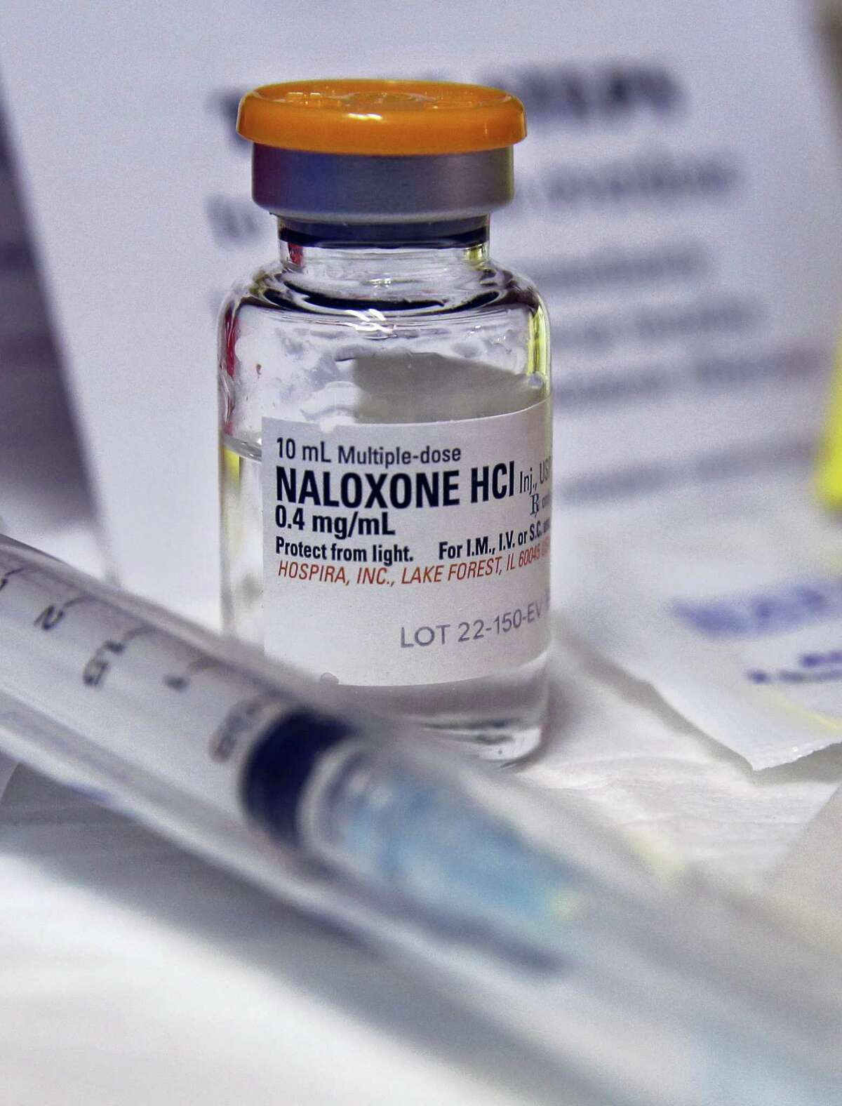 A bottle of the opiate overdose treatment drug Narcan.