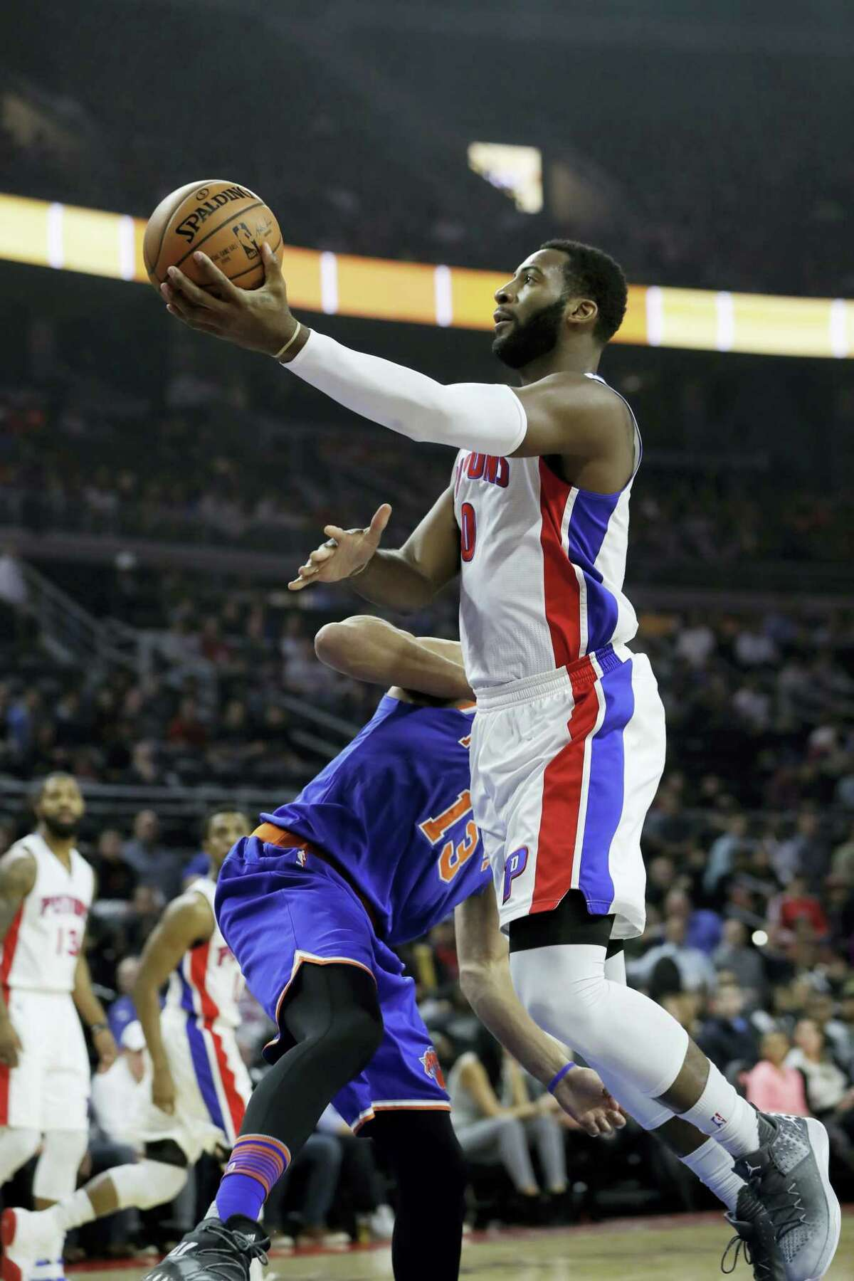 Pistons center Andre Drummond (0) makes a layup against the Knicks earlier this season.