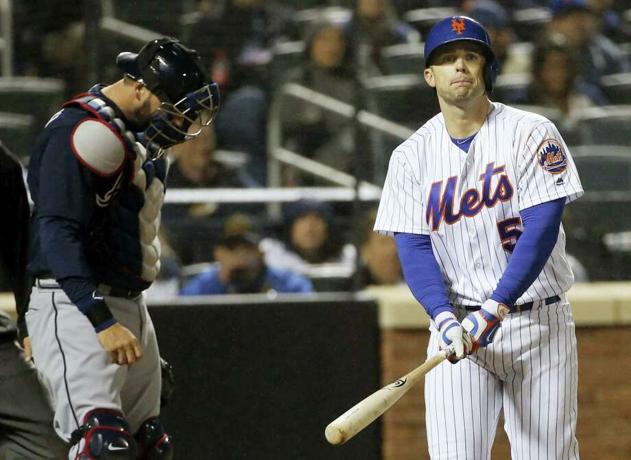 New York Mets David Wright (5) reacts after striking out looking as Atlanta Braves catcher A.J. Pierzynski, left, looks down during the sixth inning of the Mets 3-0 shutout loss to the Braves in a baseball game Tuesday. Photo: KATHY WILLENS — THE ASSOCIATED PRESS  / Copyright 2016 The Associated Press. All rights reserved. This material may not be published, broadcast, rewritten or redistribu