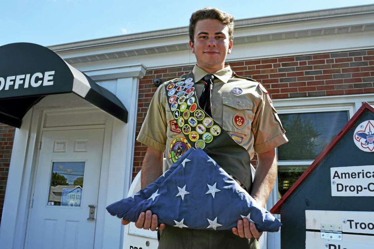 Middletown Boy Scout Troop 41 Eagle Scout candidate and Xavier High School student Frank Perrotti of Middlefield constructed 11 boxes to collect tattered or no-longer-used American Flags, which will be retired in a ceremony this fall. He expects to hear within the next couple of weeks whether he earned his Eagle Scout badge — the highest honor achievable.