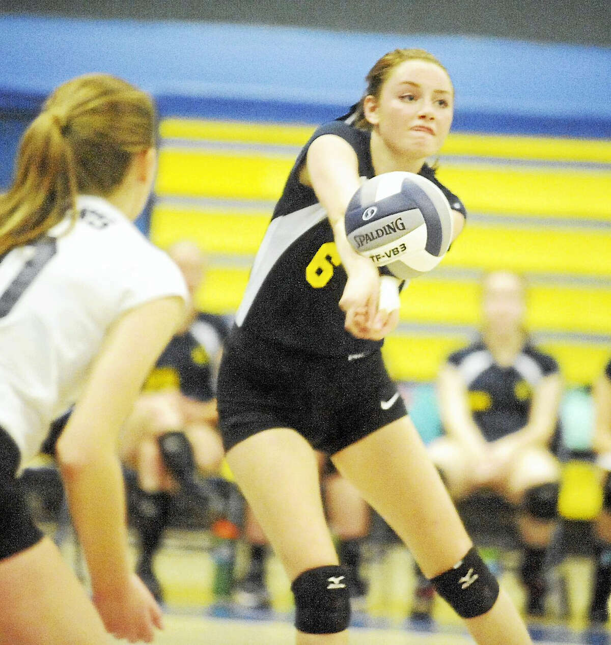 Haddam-Killingworth senior Sarah Porter had nine kills in the Cougars' 3-0 SLC semifinal win over Coginchaug on Wednesday.