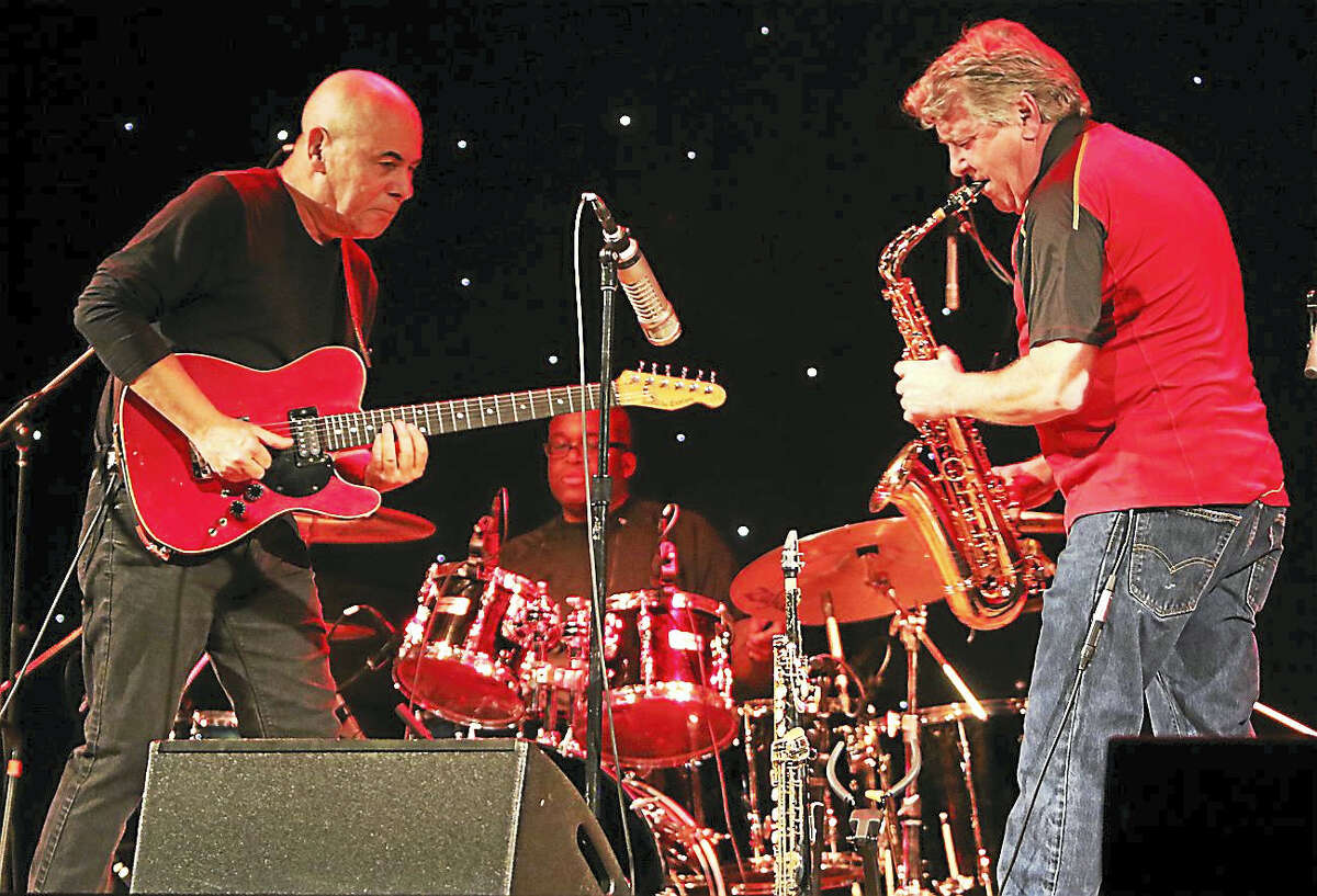 """Photo by John AtashianMusicians Julio Fernandez and Jay Beckenstein of the legendary jazz fusion band Spyro Gya are shown performing and entertaining a crowd of their fans on April 28, at the Infinity Music Hall in Hartford. The group, formed in the mid-1970s, have released over 30 albums and sold over 10 million copies during their long and successful career. Their most popular songs include the """"Shaker Song"""" and """"The Morning Dance"""". To view the long list of upcoming concerts coming to the Infinity Music Hall, visit www.infinityhall.com"""