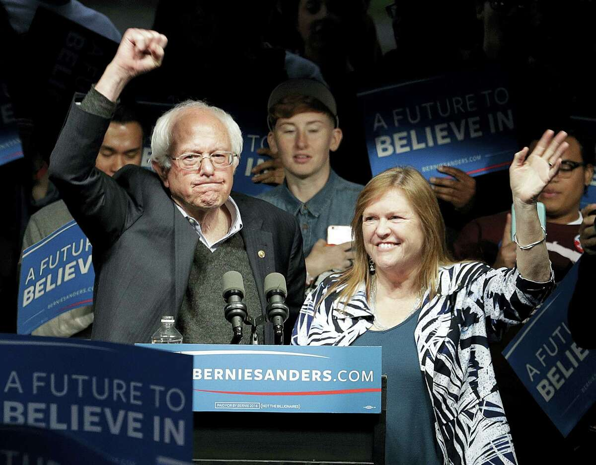 Democratic presidential candidate, Sen. Bernie Sanders, I-Vt., and his wife Jane Sanders, wave after a campaign rally Tuesday, May 3, 2016, in Louisville, Ky.