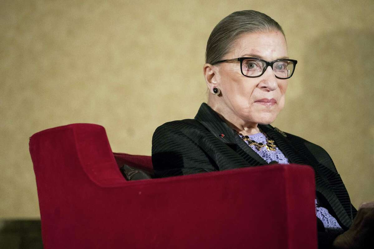 In this Aug. 19, 2016 photo, Supreme Court Justice Ruth Bader Ginsburg speaks in Pojoaque, N.M.