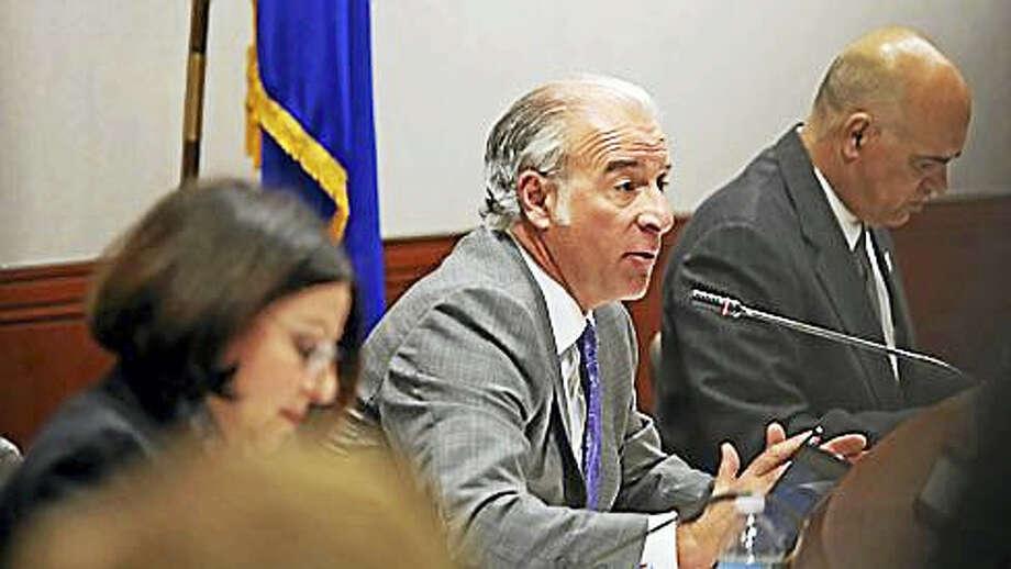 State Rep. Antonio Guerrera, D-Rocky Hill, at microphone Photo: Christine Stuart Photo